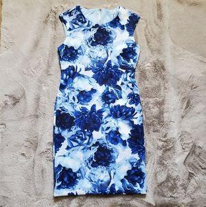 NWT Tahari Blue Floral Scuba Sheath Dress
